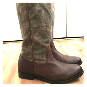 FRYE Melissa canvas and leather tall riding boots